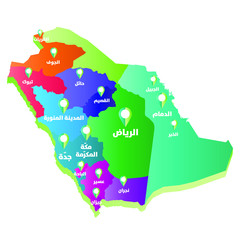 Saudi Arabia map with cities name in Arabic and location sign, gradient color map and golda map with cities name in Arabic and location sign, gradient color map and gold