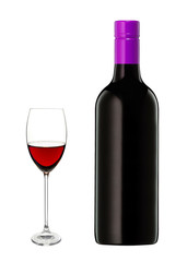 Glass of red wine and a bottle isolated