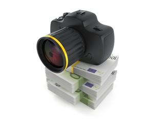 Camera on stack of money