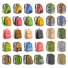 Vector set of various Backpacks, 30 cut out variety bags with straps and handle for army or trip, modern orange backpack for kids with soccer ball in pocket, big camo rucksacks on white background.