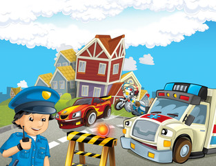 cartoon scene with police chase motorcycle driving through the city helicopter flying policeman and ambulance - illustration for children