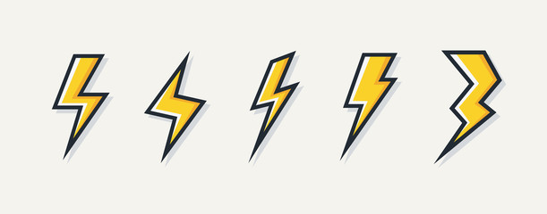 Vector electric lightning bolt logo set isolated on white background for electric power symbol, poster, t shirt. Thunder icon. Storm pictogram. Flash light sign. 10 eps