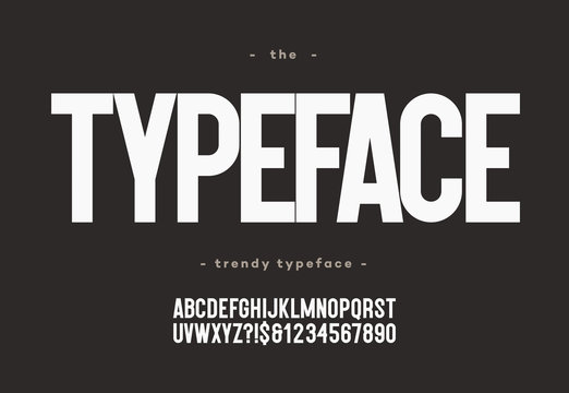 Vector typeface bold style modern typography for decoration, industrial, logo, poster, t shirt, book, card, sale banner, printing on fabric. Cool 3d font. Trendy alphabet. 10 eps