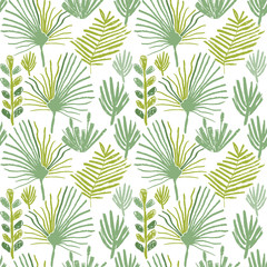 Tropical greenery flower, seamless pattern, hand drawn illustration. Floral backdrop, exotic jungle plant wallpaper, doodle style