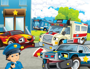 cartoon scene with police chase motorcycle car and bus driving through the city policeman near police station and ambulance - illustration for children