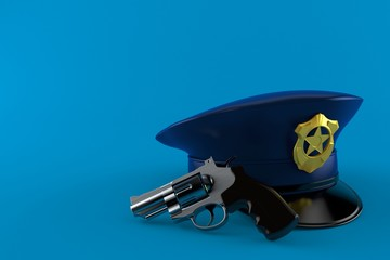 Police hat with gun