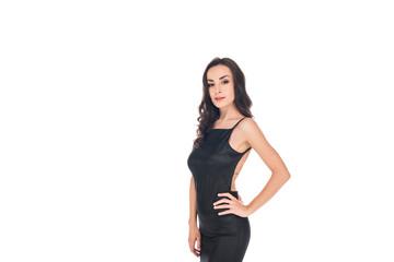 elegant woman posing in black dress isolated on white