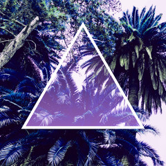 Aesthetic awesome view of nature with palm trees in the inversion colours and triangle frame. Ultra violet.