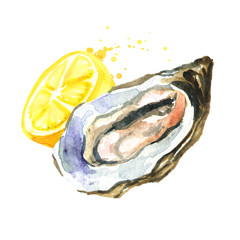 Oyster with lemon. Watercolor hand drawn illustration, isolated on white background