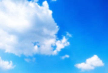 blue sky with cloud, blurred background,layout for the designer