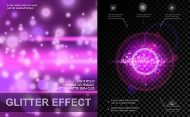 Realistic Light Effects Purple Template