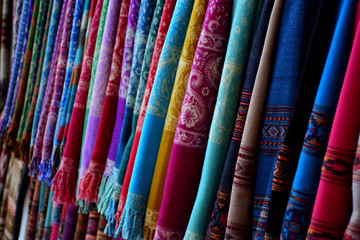 Colorful fabrics in market