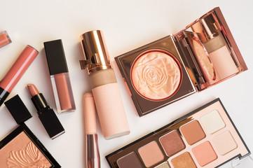 Set of luxury beautiful cosmetics for fashion make up  on white  background