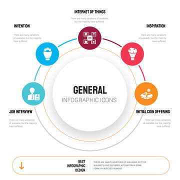 Abstract infographics of general template. job interview, invention, internet things, inspiration icons can be used for workflow layout, diagram, business step options, banner, web design.