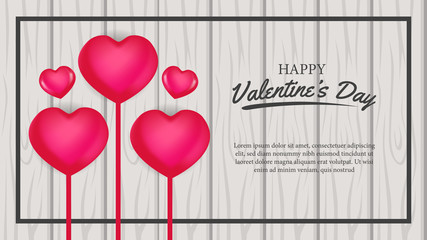 Valentine's day banner template with love hearth illustration on the wood