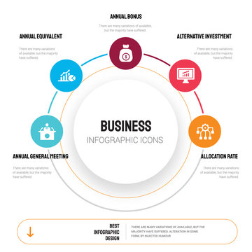 Abstract infographics of business template. Annual general meeting (AGM), equivalent rate (AER) icons can be used for workflow layout, diagram, step options, banner, web design.