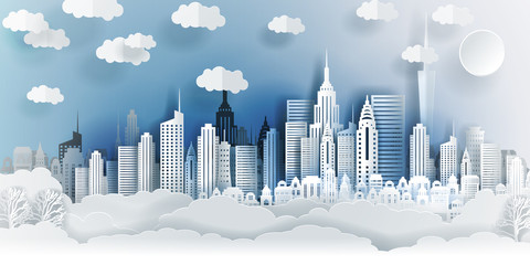Guangzhou city concept, China. Paper art city on back with buildings, towers, clouds. Origami and travel concept, vector paper art illustration.