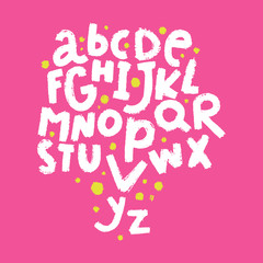 English vector nursery alphabet. Lettering, isolated letters