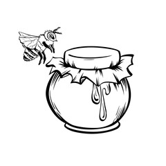 Honey and Bee, Outline Logo Design. Isolated Vector. Black Engraved Element. Vintage Style Illustration of Flying Wasp and Honey Drop