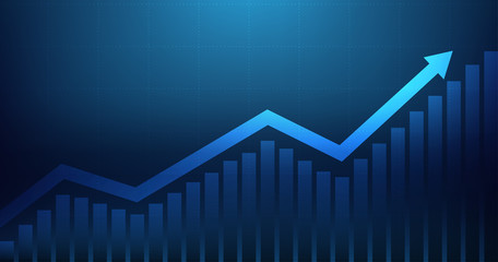 Obraz Widescreen Abstract financial graph with uptrend line arrow and bar chart of stock market on blue color background - fototapety do salonu