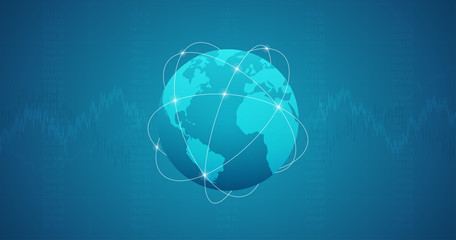 Widescreen Abstract financial graph with candlestick chart in stock market and wireframe globe on blue color background