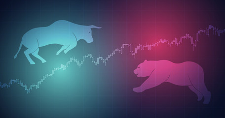 Widescreen Abstract financial chart with bulls and bear in stock market on red and blue color background