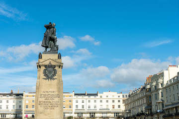 The statue of South African War Memorial (1905) for fallen men of Royal Sussex Regiment at Regency Square in Brighton, East Sussex, England, UK.
