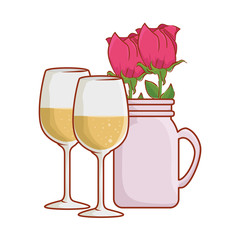 wine cups with rose in jar