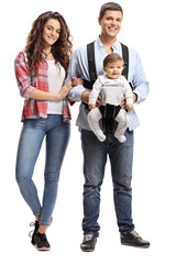 Young couple with a baby in a carrier