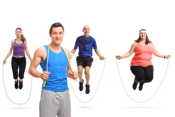 Young male athlete posing with a skipping rope and a group of people jumping with a skipping rope