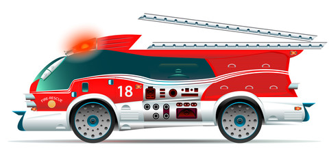 Fire truck on white background. Creative view. Flashing red siren. Dismantled staircase. Vector illustration