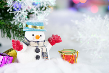 snowman and christmas tree with gifts