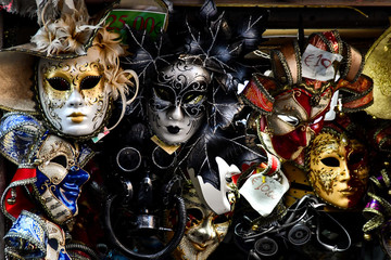 venetian carnival masks in venice, digital photo picture as a background