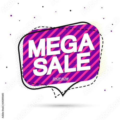 Mega Sale, tag design template, discount speech bubble