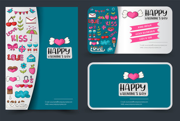 Valentine's day flyer and business cards set. Background for advertisement, invitation. Doodle style love and hearts concept. Vector illustration.