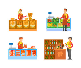 Supermarket Stores Butchers and Fruits Vector