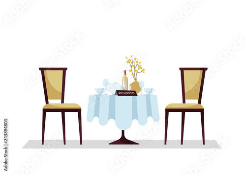 Reserved Expensive Restaurant Round Table With Tablecloth Plant