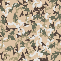 Universal camouflage of various shades of beige, brown, green and white colors