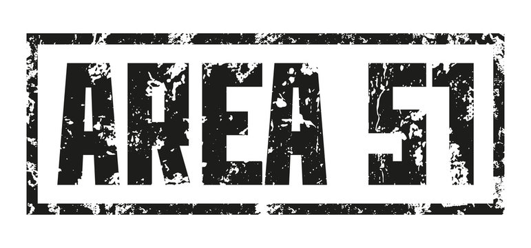 Stamp Secret Base. Area 51. Black print on white background. Vector design