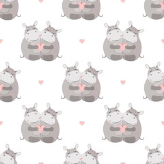 Hippo Seamless Vector Pattern.Vector background