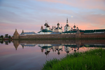 View of Solovetsky monastery in summer on sunset