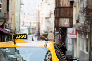 Yellow sign of the Istanbul taxi, Turkey