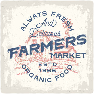Organic food logo. Vintage poster with hand drawn illustration of farm house.