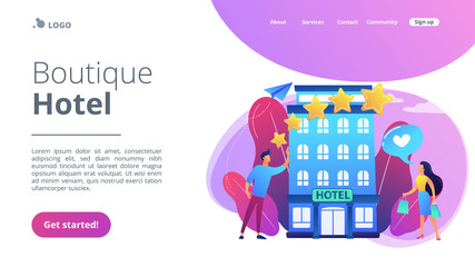 Business people with rating stars like the stylish boutique hotel. Boutique hotel, ultra-personalized service, high-end residential concept. Website vibrant violet landing web page template.