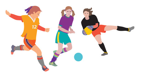 Soccer girls. Young women playing soccer. Hand drawn vector illustration, flat color on white background.