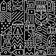 Seamless pattern, Memphis style, abstract graphic elements, hand drawn, doodle, background, vector illustration