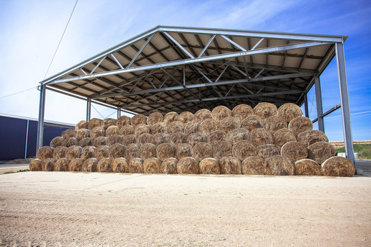 sloping hay under a canopy.