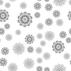 Mandala seamless pattern on white background.