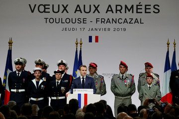 French President Emmanuel Macron delivers his new year wishes to the military during a ceremony on the Toulouse-Francazal airbase in Toulouse
