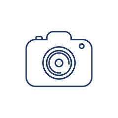 Line icon camera isolated on white background. Vector illustration.